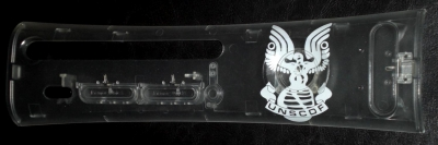This is a clear faceplate painted with the halo UNSCDF Marine insignia.