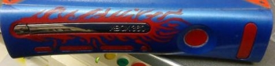 This faceplate is part of a complete console custom made with Transformers elements by an unknown customizer.