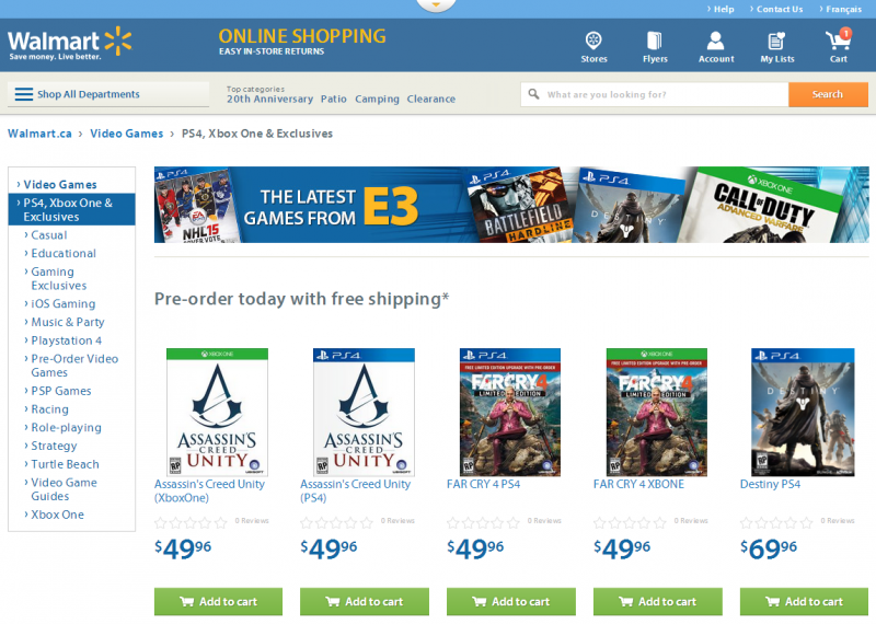 Walmart Canada offering best deal on Far Cry 4, Assassin's Creed