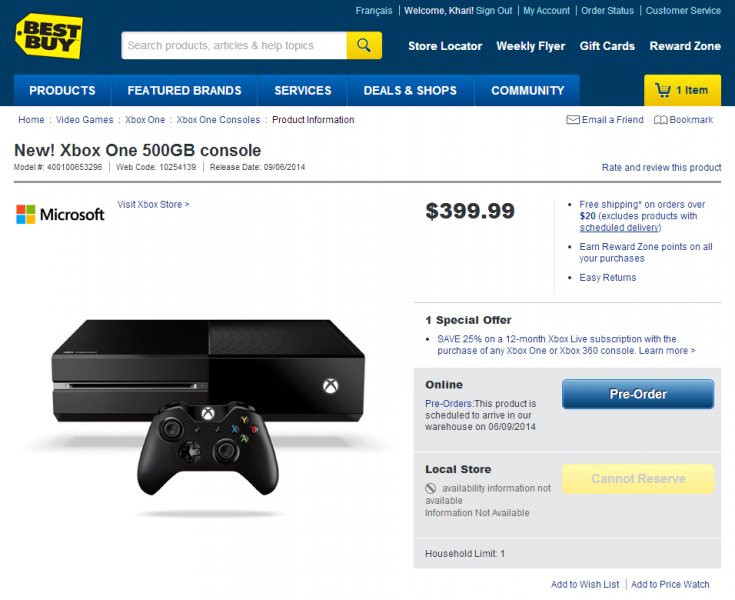 $399 99 Xbox One now available for pre-order at Best Buy